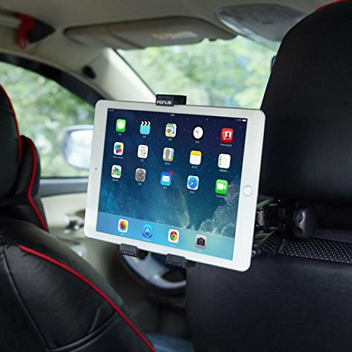 Premium Car Headrest Mount Tablet Holder Rotating Cradle Back Seat Dock Stand Kit Strong Grip [Black] for Samsung Galaxy Tab 4 NOOK 7.0 10.1, E NOOK 9.6, S2 NOOK 8.0