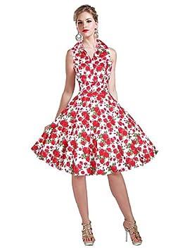 JIALE3536 Vestido Fiesta Mujer,De Fiesta Mujer Vestido De Fiesta Floral ,S,Rojo