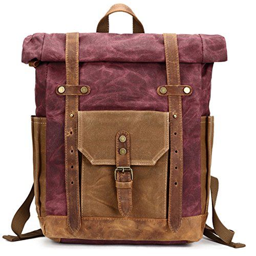Purplish Waterproof Travel Shoulder Men Red For Oil Wax Retro Double Bag Canvas Backpack pqpnAWZ1BP