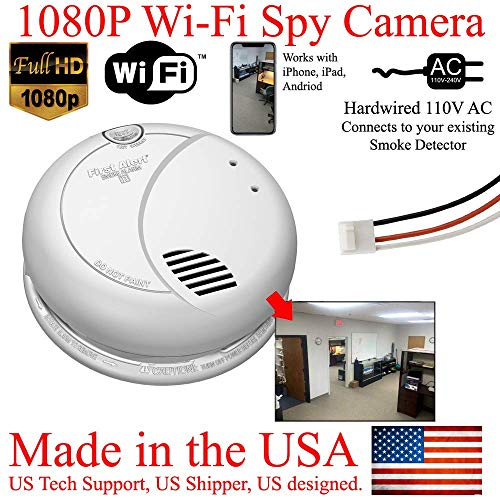 (SecureGuard 1080P WiFi Smoke Detector HD Hidden Spy Camera Wireless IP Cloud P2P Wi-Fi Mobile Covert Nanny Cam Spy Camera Gadget (Replace Your existing Fire Alarm, 110V AC Quick Connector, See Pics))
