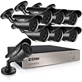 ZOSI FULL 1080P HD-TVI 8CH Security Camera System 4-in-1 Home Surveillance DVR and (8) HD 2.0MP Outdoor/Indoor CCTV Cameras,42pcs IR Leds 120ft night vision, NO Hard Drive (Certified Refurbished)