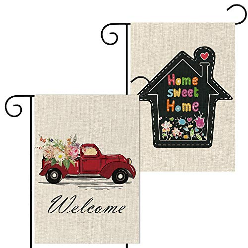 WATINC 2Pcs Welcome Garden Flag Set with Home Sweet Home and Car Decorative Double Sided Burlap Lawn Flag Seasonal Summer Spring Holiday Yard Flags for Indoor Outdoor Decoration 12.6 x 18.4 Inch