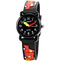 St. Lun Kids Watches, 3D Cute Cartoon Digital Sport Watch Silicone Wristwatches Best Gift for 3-10 Year Old Girls Boys (Color : Black Fireengine)