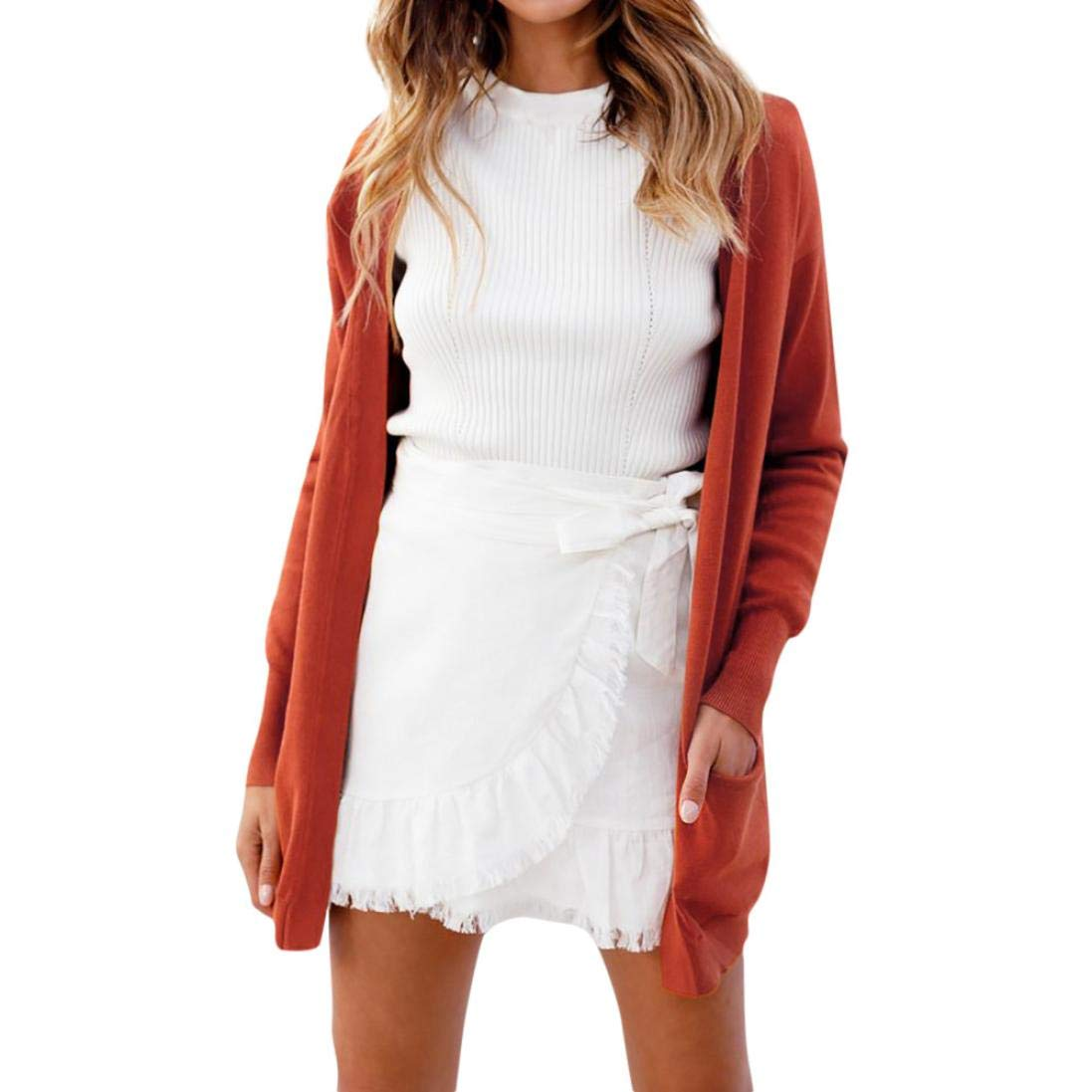 KFSO Women Long Sleeve Solid Open Front Cardigans Blouse Jumper Sweaters with Pocket Tops (Orange, 2XL)