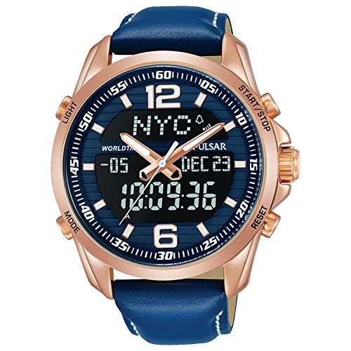 (Pulsar Mens Blue Leather Strap Worldtime Digital Analogue Watch PZ4034X1)