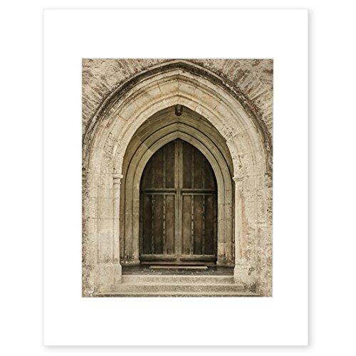 Gothic Wall Art, Arched Doorway Photography, Old World Stone Victorian Architecture Picture 8x10 Matted Photographic Print (fits 11x14 frame), 'Castle Doorway'