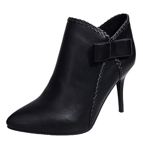 Tefamore Botas de Mujer, Botines para Adulto, Zapatos Otoño/Invierno 2018, Moda Tacón de Aguja Casual Bowknot Cremallera Zapatos Ankle Boots: Amazon.es: ...