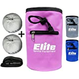 Elite Rock Climbing Chalk Bag and 2 x Chalk Balls - Chalk for Rock Climbing and Bouldering or use as Gym Chalk or Lifting Chalk - No Leak Drawstring Bag and Secure Zip Pocket