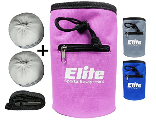 Elite Sportz Equipment Rock Climbing Chalk Bag and 2 x Chalk Balls - No Leak Drawstring Bag and Secure Zip Pocket, Pink