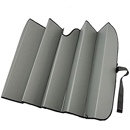 Red Motor Trend AS-312-RD Front Windshield Sun Shade-Two Tone Jumbo Accordion Folding Auto Sunshade for Car Truck SUV 66 x 27 Inch