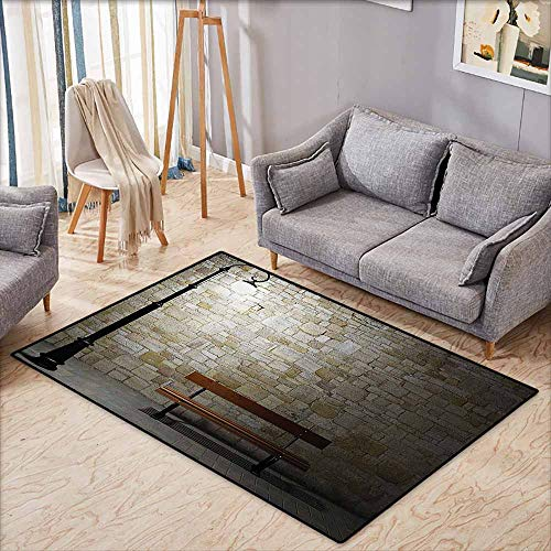 - Non-Slip Rug,Street Decor,Modern Avenue at Dark Night with a Open Lamp and Bench and Stone Wall Behind Image,Super Absorbs Mud,4'7