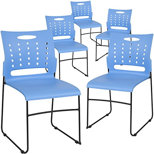 Flash Furniture 5-RUT-2-BL-GG Blue Plastic Stack Chairs, 5 Pack, ()