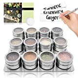 12 Magnetic Spice Tins / Containers + 3 Wall Mounted Racks - for Spices, Seasoning, Herbs, or Tea (Spices Not Included)