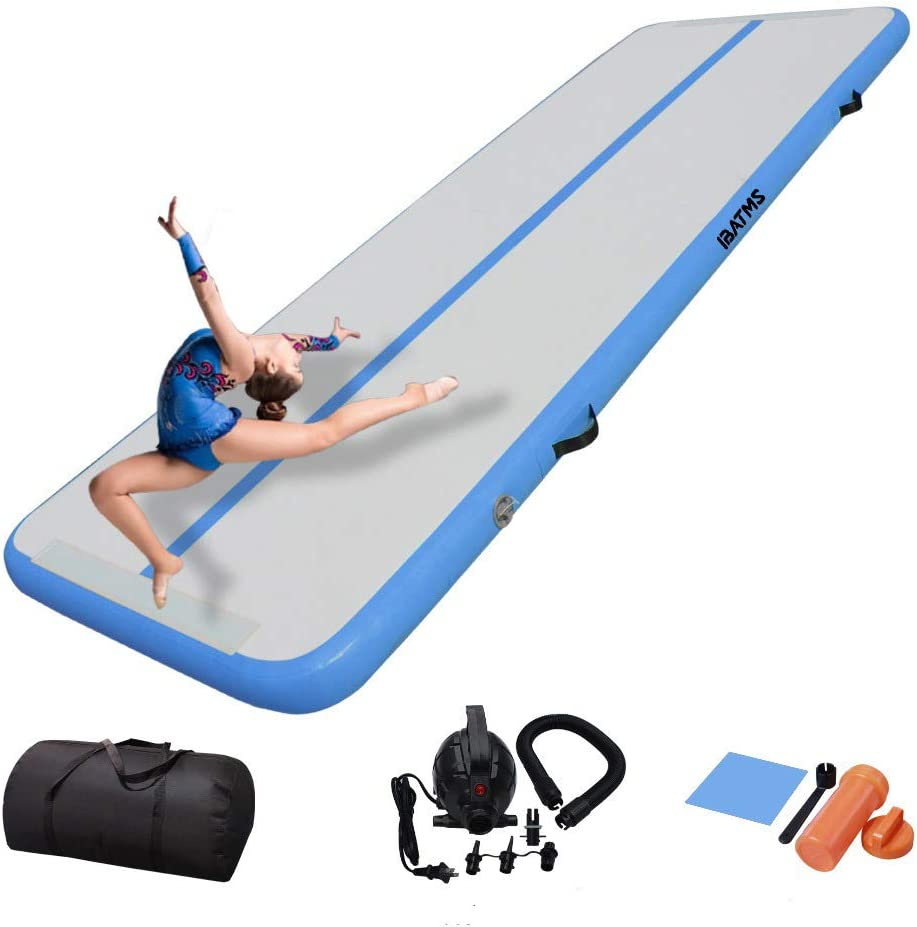 IBATMS DAIRTRACK Air Tumble Track Mat,10ft/13ft/16ft/20ft Inflatable Gymnastics Air Mat for Gymnastics Training/Home Use/Cheerleading/Yoga/Water with Electric Pump