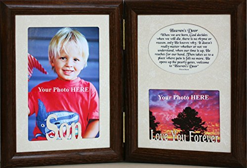 5x7 SON & HEAVEN'S DOOR Poem ~ HINGED Double Memorial/Bereavement/Condolence/Sympathy/Tribute/Funeral Keepsake Picture Photo Frame (WALNUT) (Double Doors Hinged)