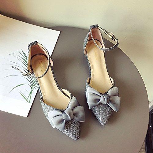 GTVERNH Mode Gold aus Stoff Frühling Damenschuhe Hohl Fliege Flachen Mund Spitzer Kopf Niedrig Bei Einzelnen Schuh.