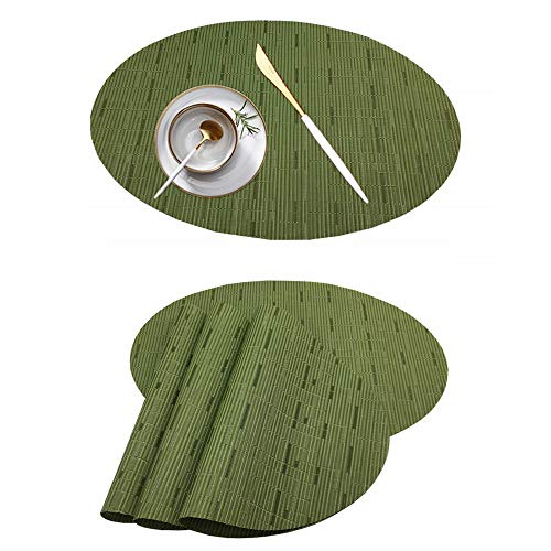BBSJN Set of 4 Placemats Heat-Resistant Table Mats Anti-Slip Dinner Place Mat PVC Woven Kitchen Table Decoration Mats Washable (Green Oval, 17.7″x12.8″) ()