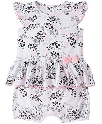 Calvin Klein Baby Girls' Romper, Pink Print, 6-9