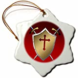3dRose orn_40079_1 Golden Shield with Crossed Swords and The Christian Cross and Background Snowflake Porcelain Ornament, 3-Inch
