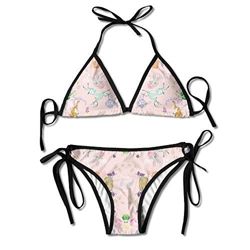 3D Flower Print Esprit (strawberry) Fabric (5709) Custom Sexy Beach Swimwear Women's Triangle Bralette Bikini Set Of 2