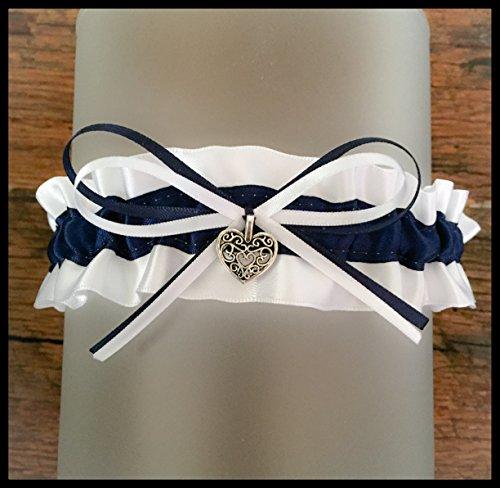 Charm Belle Heart (SEXY White Navy Blue Satin Wedding Keepsake Bridal Prom Garter - Small Swirl Heart Charm)