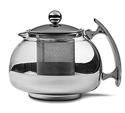 Chef's Star Premium Glass Tea Pot & Infuser - Stainless Steel, 25 oz