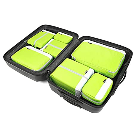 JWI Luggage Storage Bag Color : Green Storage Bag Light Weight 7 Pieces for Convenient Traveling