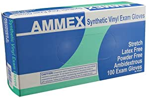 AMMEX - VSPF42100-BX - Medical Vinyl Gloves - Disposable, Powder Free, Exam, 4 mil, Small, Clear (Box  of 100)