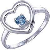 Sterling Silver Blue Topaz Heart Ring (1/5 CT)