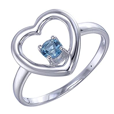 Sterling Silver Blue Topaz Heart Ring 1 5 CT