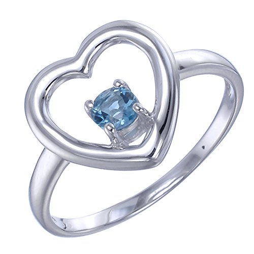[Sterling Silver Blue Topaz Heart Ring (1/5 CT) In Size 5] (0.2 Ct Heart)