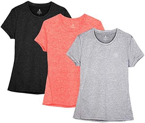 Lot de 2 icyzone T-Shirts de Sport Femme /à Manche Courtes Tops Fitness Course Jogging Tee