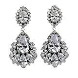 mUm Wedding Earrings Water Drop Dangle Cubic Zirconia CZ Stones Jewelry For Brides and Bridesmaids (Clear)