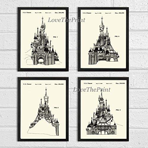 Cinderella Castle Patent Print Set of 4 Prints Beautiful Disney Fan Gift Beautiful Home Room Decor Wall Art Unframed