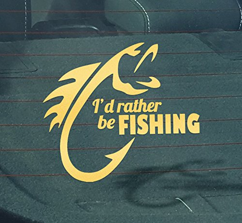 I'd Rather Be Fishing Decal | 6.5-Inches Wide | Premium Qual