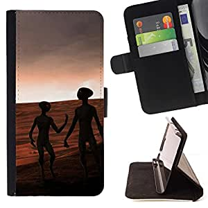 DEVIL CASE - FOR LG G2 D800 - Aliens On Mars - Style PU Leather Case Wallet Flip Stand Flap Closure Cover