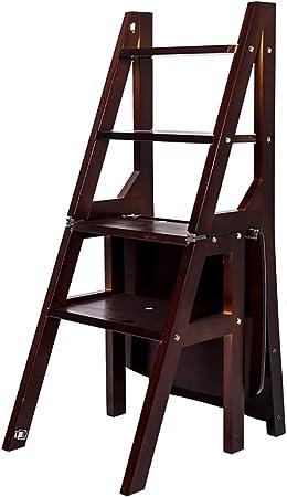 Escalera de tijera de madera maciza, silla de escalera plegable de biblioteca convertible multifuncional Taburete de 4 escalones, diseño 2 en 1 con escalera y silla para hogar, biblioteca, desván: Amazon.es: Hogar