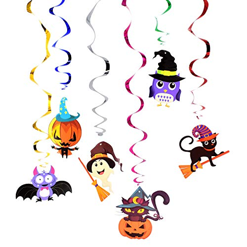 Halloween Party Hanging Swirl Decoration 6-Piece Set, Racol Hanging Swirl Ceiling Decor Halloween Party Cartoon Cute Witches Hat Bats Spider Pumpkin Monster Swirl Hanging Cards Halloween Supplies
