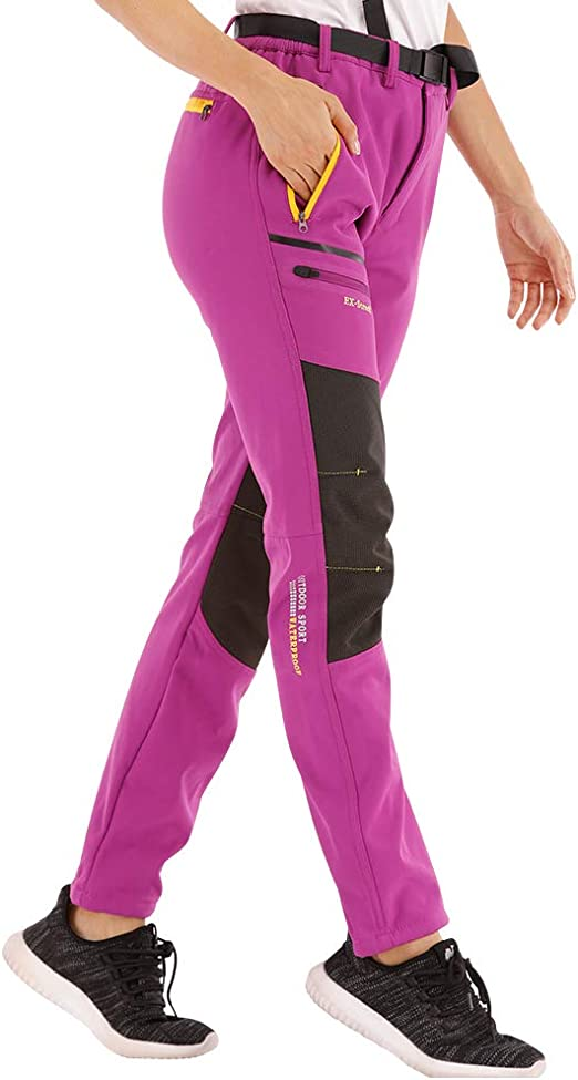 Pantalon de Montagne /Élastique Trekking Ext/érieur avec Ceinture Coupe-Vent Pantalon de Randonn/ée Femme en Plein air Pantalon dhiver Doubl/é Chaud Respirant SANMIO Pantalon Femme