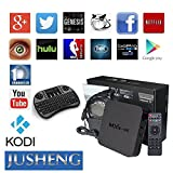 JUSHENG® [Free I8 Wireless Mini keyboard] MXQ 4K Android Tv Box Quad Core RK3229 with android 5.1 1G 8G Wifi Kodi Fully Loaded Support 4K 10-bit 60fps H.265 Video Decoder LAN Miracast Video Playback Streaming Media Player