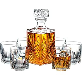 Paksh Novelty 7-Piece Italian Crafted Glass Decanter & Whisky Glasses S...