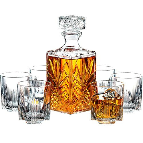 Paksh Novelty 7 Piece Italian Crafted Glass Decanter   Whisky Glasses Set  Elegant Whiskey Decanter With Ornate Stopper And 6 Exquisite Cocktail Glasses