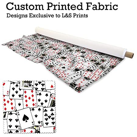 PLAYING CARDS DESIGN DIGITAL PRINT 220GRAM SATIN POLYESTER PRINTED FABRIC 56quot WIDTH MADE IN YORKSHIRE
