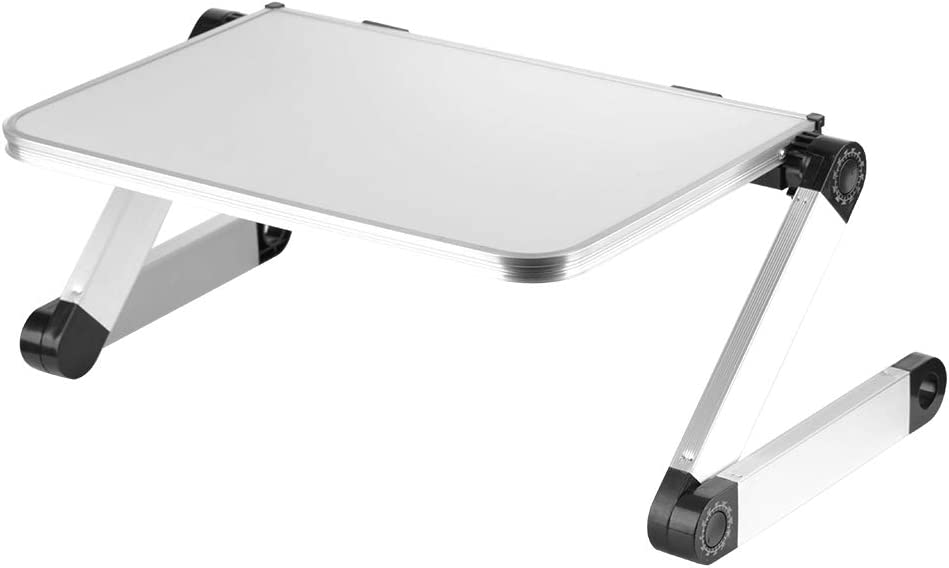 Tmtop Adjustable Aluminum Alloy Portable Folding Laptop Tray Desk Tablet Table Stand Lifting Plate for Reading Writing Eating in Sofa, Floor, Couch and Bed (White)