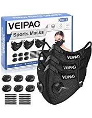 VEIPAO 3 Set Sports Mask Running Mask with Activated Carbon Filter, 6 Breathing Valve, 12 Soft Foam Padding for Running Walking, Cycling, Motorcycle