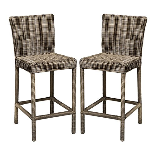 - TKC Cape Cod Outdoor Wicker Bar Stools in Vintage Stone (Set of 2)