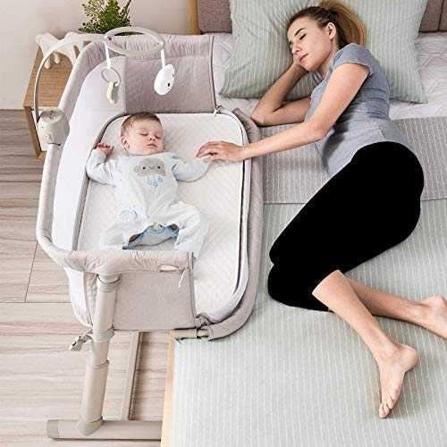 Kidsclub-Baby-Bedside-Sleeper-with-2-Replaceable-Sheets-Baby-Bedside-Bassinet-for-New-Born-Standalone-Bassinet-Side-Sleeper-for-Infants-Baby-Nursery-Bed-9-Height-Adjustable-for-Bed-Sofa