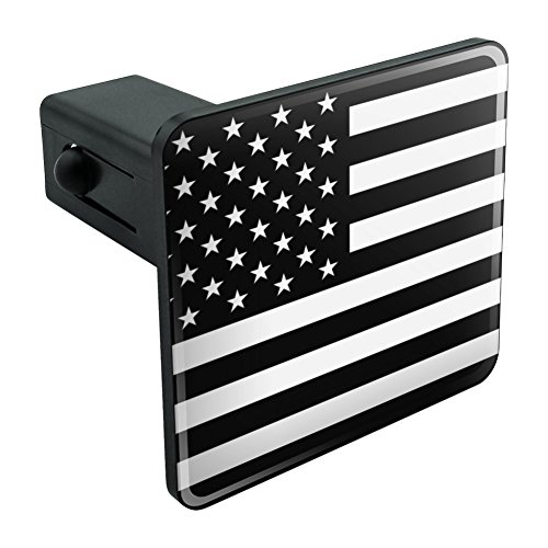 Subdued American USA Flag Black White Military Tactical Tow Trailer Hitch Cover Plug Insert 1 1/4 inch (1.25