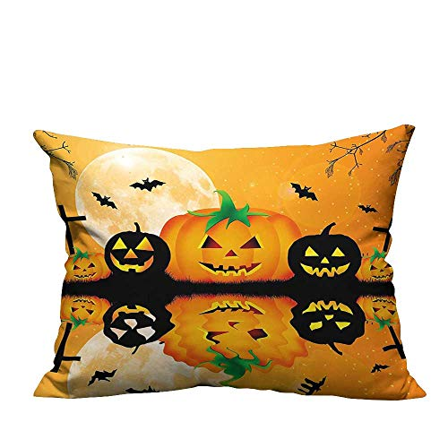 YouXianHome Lovely Cushion Covers Carved Halloween Pumpk Full Mo Bats Grave by Lake Orange Black Resists Stains(Double-Sided Printing) 21.5x21.5 inch ()