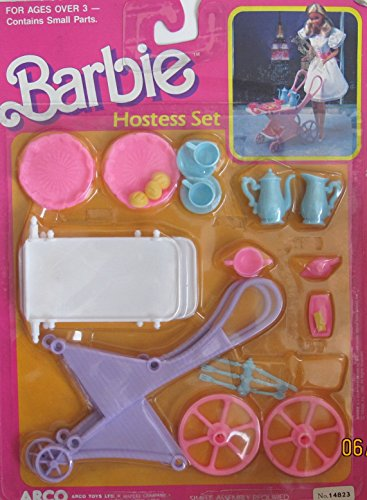 BARBIE HOSTESS Play SET w TEA CART & Trays, TEA POT, Cups, UTENSILS & More! (1988 Arco Toys, Mattel) by Barbie
